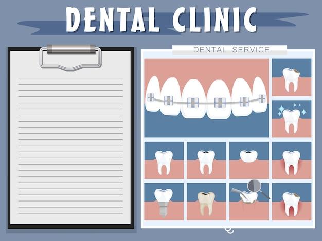 Cura dei denti in odontoiatria. illustrazione vettoriale icone dentali di design piatto