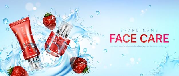 Cura del viso con fragole a spruzzi d'acqua