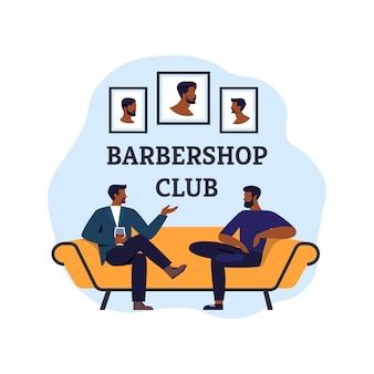Cura della barba nel barbiere con specialista