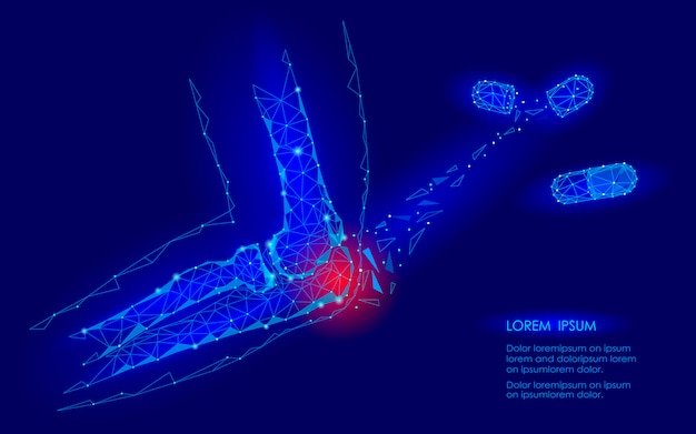 Cura della capsula farmacologica malattia dell'articolazione del gomito. area di dolore rosso poli basso concetto di medicina futura geomentic