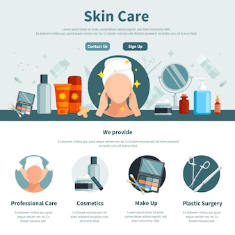 Cura della pelle una pagina piatta per il web design con informazioni di contatto professionali e trucco