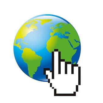 Cursore della mano del pianeta y su sfondo bianco
