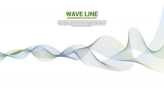 Curva di linea dell'onda sonora blu e verde su fondo bianco. elemento per il vettore futuristico tecnologia a tema