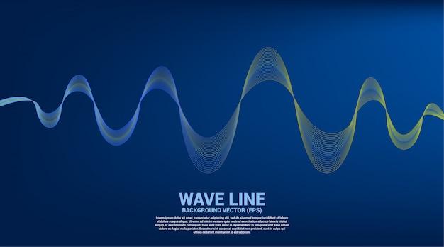 Curva di linea dell'onda sonora blu e verde su fondo blu.