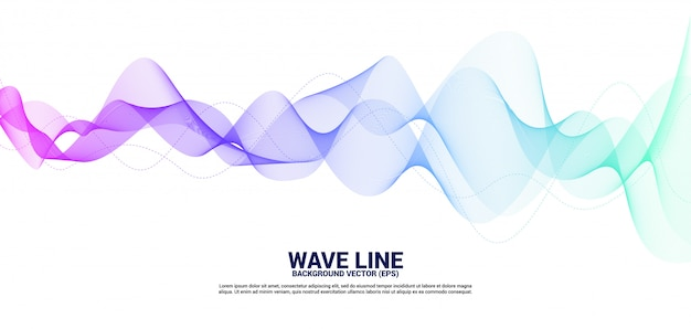 Curva di linea dell'onda sonora viola e blu su fondo bianco.