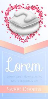 Cuscini all'interno del telaio a cuore di petali di fiori di rosa