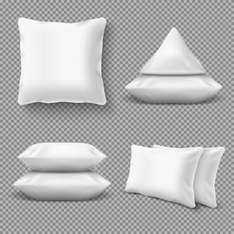 Cuscini bianchi realistici e confortevoli,