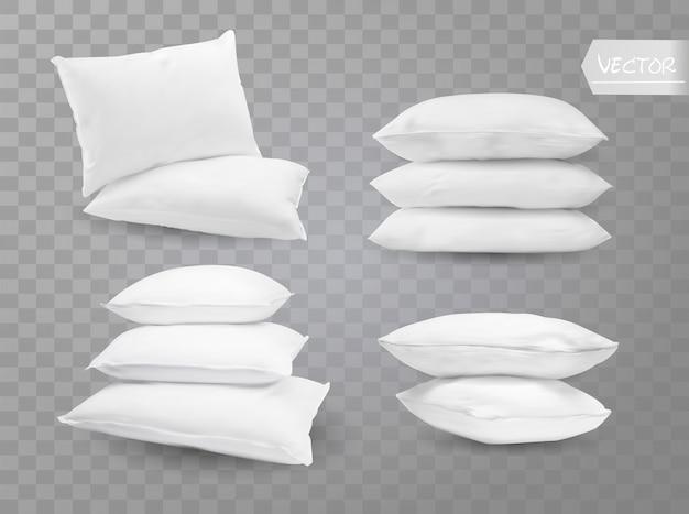Cuscini bianchi realistici.