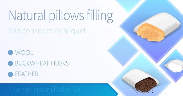 Cuscini imbottiti con lana, piuma, buccia di grano saraceno