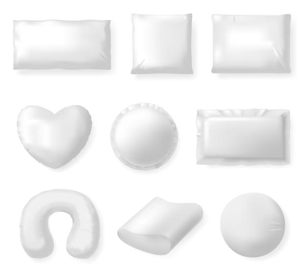 Cuscini tessili realistici. cuscini bianchi del letto, cuscino molle del tessuto di comodità, insieme quadrato dell'illustrazione del cuscino di riposo e di sonno. cuscino morbido e confortevole cotone, letto morbido
