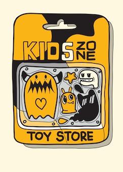 Custodia per giocattoli ci sono molti giocattoli all'interno, un simpatico giocattolo mostruoso