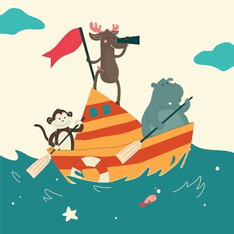 Cute animal sailing boat nell'oceano