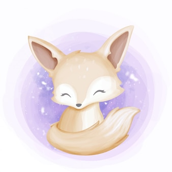 Cute baby fennec smile face