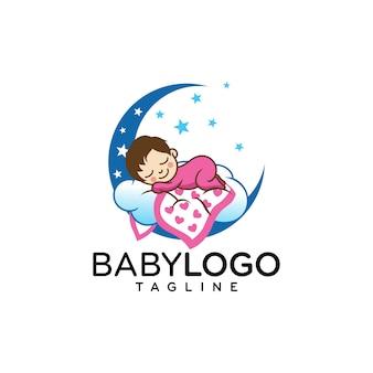 Cute baby logo design vettoriale