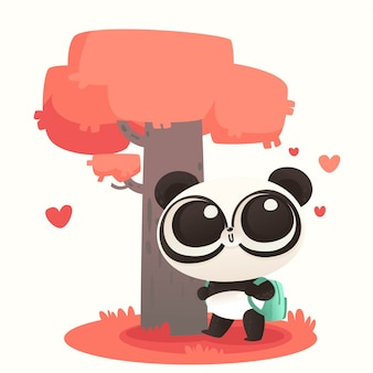Cute baby panda falling in love
