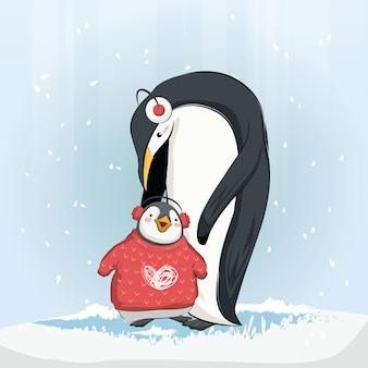 Cute baby penguin wearing sweater
