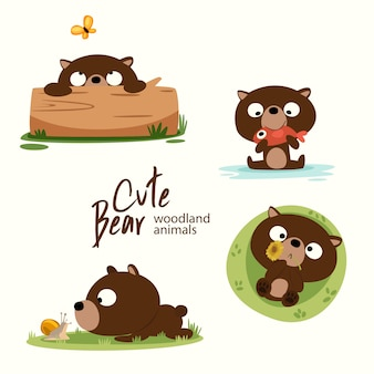 Cute bear woodland animals