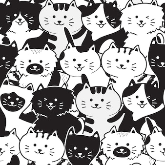 Cute black & white cat seamless pattern