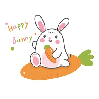 Cute bunny cartoon e carota