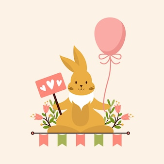 Cute bunny holdinglove e balloon
