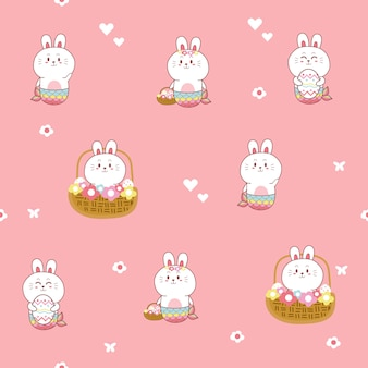 Cute bunny mermaid kawaii seamless pattern