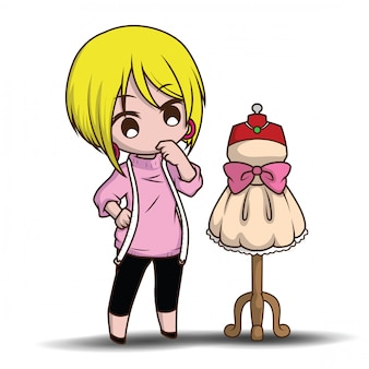 Cute cartoon fashion designer