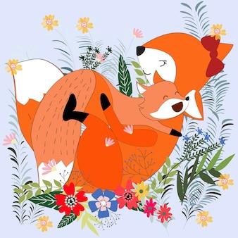 Cute cartoon mamma e baby volpe nel giardino fiorito