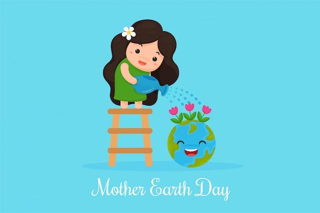 Cute cartoon mother earth mostra l'amore per il mondo.