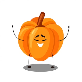 Cute cartoon orange pumpkin con emozione felice