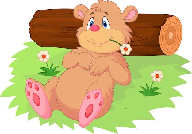 Cute cartoon orso rilassante