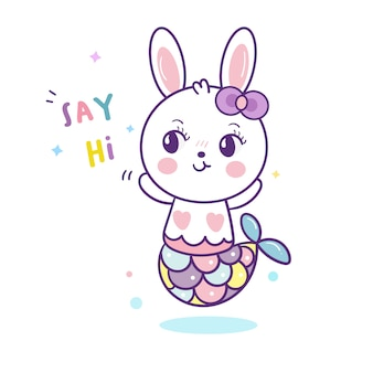 Cute cartoon rabbit mermaid kawaii