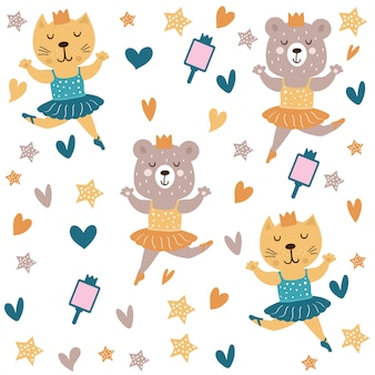 Cute cat and bear dancing ballet pattern