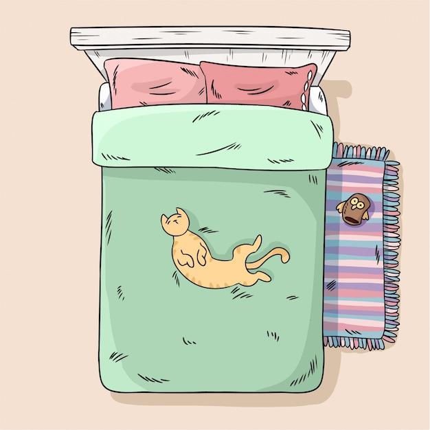 Cute cat sdraiato sul letto pancia fino. vista dall'alto. immagine stile cartone animato
