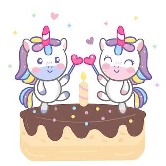 Cute couple unicorn cartoon