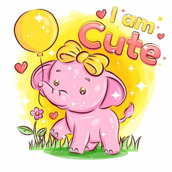 Cute elephant gioca con ballon e feeling love. illustrazione di cartone colorato