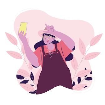 Cute girl selfie sulle vacanze estive