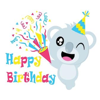 Cute koala con il fumetto vettoriale del cappello, cartolina di compleanno, carta da parati e biglietto di auguri, disegno della maglietta per i capretti