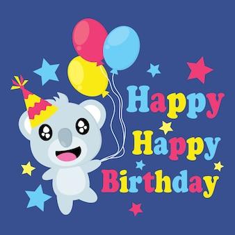 Cute koala porta colorato vettore fumetti di palloncini, cartolina di compleanno, carta da parati e biglietto di auguri, disegno della maglietta per i bambini