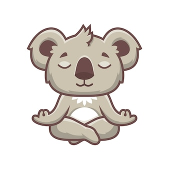 Cute koala yoga mascot design