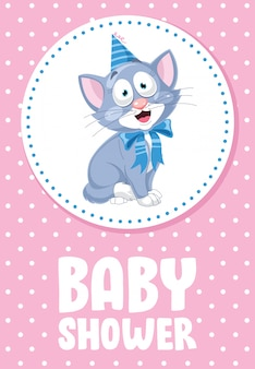 Cute little cat posing divertente, carta per baby shower