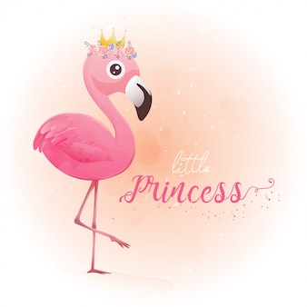 Cute little princess pink flamingo