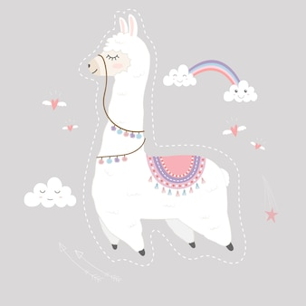 Cute llama design fluttuante nel cielo.