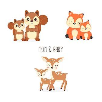 Cute madre e piccoli animali del bosco. cartone animato di volpi, cervi, scoiattoli.