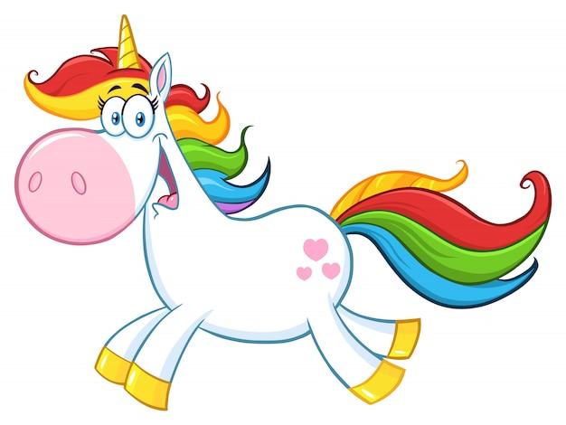 Cute magic unicorn cartoon mascot character running.