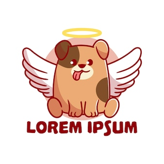 Cute mascot logo angel dog fumetto