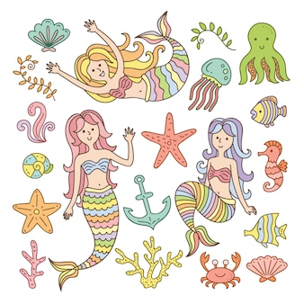 Cute mermaids and sea element collection