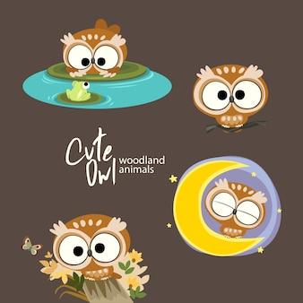 Cute owl woodland animals