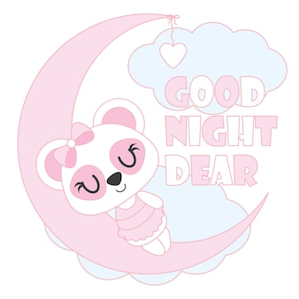 Cute panda del bambino dorme sull'illustrazione del fumetto di vettore della luna per il disegno della carta dell'acquazzone del bambino, disegno della maglietta del capretto e carta da parati