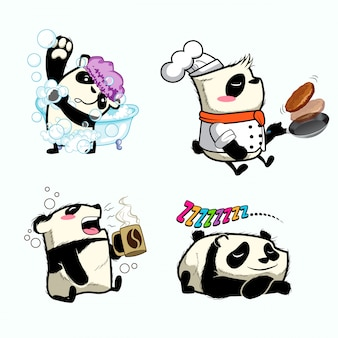 Cute panda sticker, patch panda
