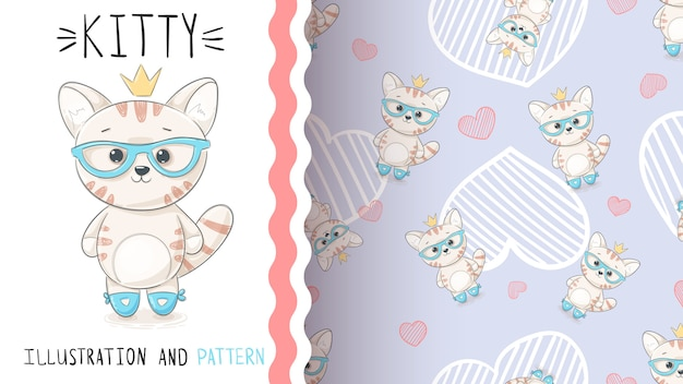 Cute princess kitty - seamless pattern